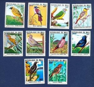 MALI - Scott 272-277 & 298-302  - FVF MNH - BIRDS - 1977-1978