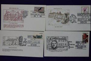 INPEX show cachet lot philatelic souvenir cover Portland Seattle OR 1980-1985