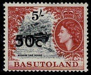 BASUTOLAND QE II 1961 50c-5/-BLACK & CARMINE Ty1 SG67 MH Wmk. MSCA P.13.5 VGC