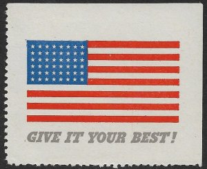 USA c1943 WW2 48 STAR US FLAG LABEL GIVE IT YOUR BEST Inscription MNH