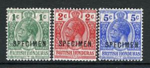 BRITISH HONDURAS-1915-16 Specimen set.  An unmounted mint set Sg 111s-113s