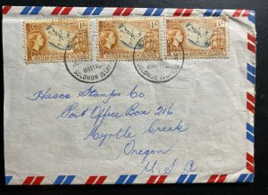 1950s British Solomon Islands Airmail Cover To Myrtle Creek OR USA