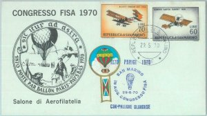 83058 - SAN MARINO - Postal History - special EVENT COVER: BALLOON post 1970