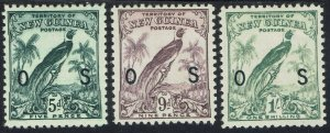 NEW GUINEA 1932 UNDATED BIRD OS 5D 9D AND 1/-