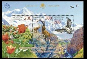 Kazakhstan 2016 flowers birds flora fauna s/s MNH