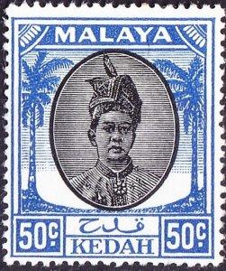 MAYALA KEDAH 1950 50c Black & Blue SG87 MH
