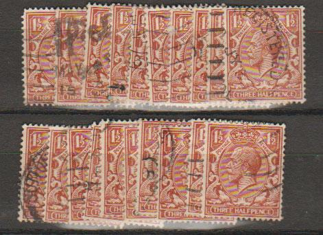 GB George V SG 420 Used -  selection of 20+ for shade study - see details