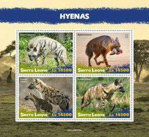 Sierra Leone Wild Animals Stamps 2020 MNH Hyenas Hyena Aardwolf Fauna 4v M/S