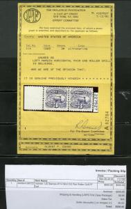 UNITED STATES 3c TRAIN SCOTT#114  PR MARGIN END ROLLER GRILL PF CERT MINT HINGED