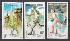 DJIBOUTI SC# C129-C131 SUMMER OLYMPIC GAMES MOSCOW 1980 MNH - IMPERF