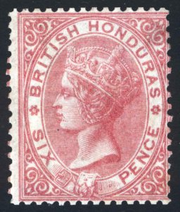 British Honduras 1865 6d Rose NO WMK Perf14 SG 3 Scott 2 LMM/MLH Cat £400($492)
