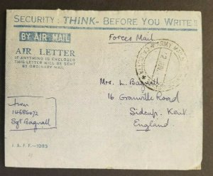 1946 Calcutta India Kent England Army Mails Exchange Office Air Letter Cover