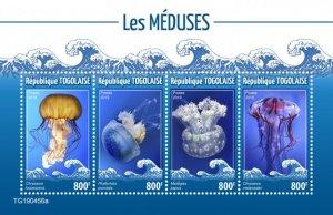 Togo Stamps 2019. - Jellyfish (Chrysaora fuscescens; Phyllorhiza punctata; Masti