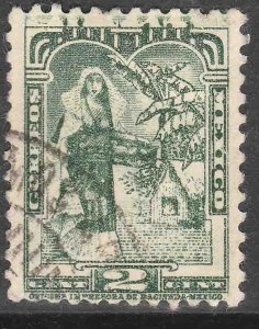 MEXICO 708a 2¢ TEHUANA INDIAN LADY 1934 DEF. SINGLE UNWTMKD. USED VF. (792)