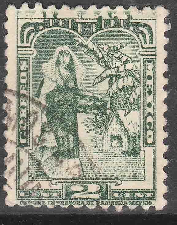 MEXICO 708a 2¢ TEHUANA INDIAN LADY 1934 DEF. SINGLE UNWTMKD. USED VF. (792)
