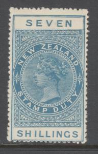 New Zealand Sc AR38, SG F137 MLH. 1925-30 7sh pale blue QV Postal Fiscal, VLH