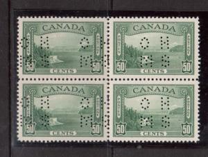 Canada #O244 XF/NH Rare Block