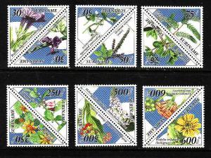 Surinam-Sc#998-1009-unused NH set-Medicinal Plants-1995-Triangles-Flowers-
