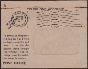 ADEN 1963 Telephone Account official envelope used - machine cancel.........H321