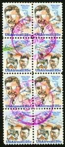 #C95 & #C96 1979 25c EFO Used Block of 8, (4 Vert Pairs) with Color Shift Errors