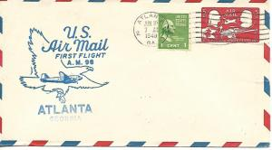 Airmail First Flight Atlanta GA June 10 1949 AAMC#98W6