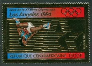 Central Africa Mi 859A,860 Bl.200A. Olympics Los Angeles-1984.High jump,Yachting