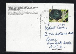 PITCAIRN ISLANDS (PP0308B)  PPC WITH 15C BIRD SENT TO  USA