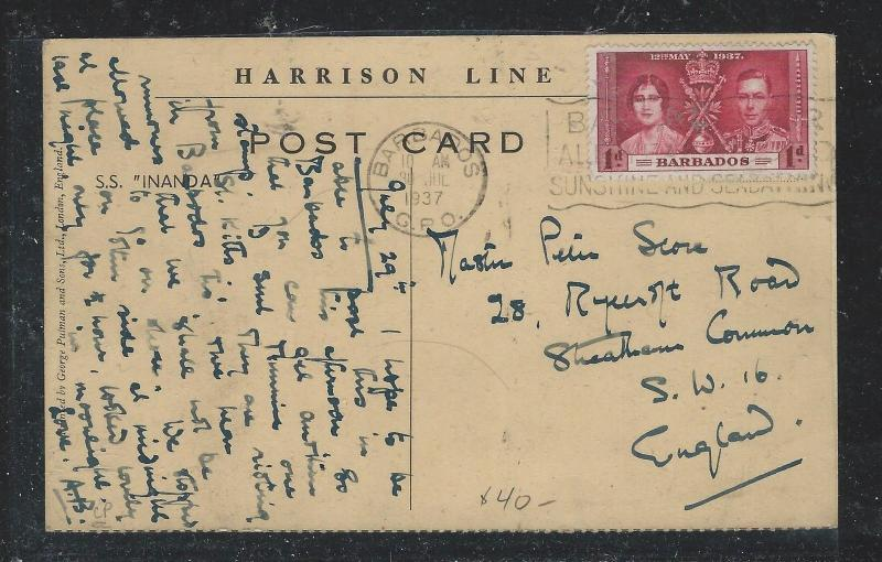 BARBADOS (P0806B) 1937 KGVI 1D CORONATION ON PPC TO ENGLAND