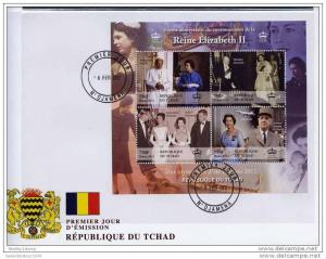 Chad 2012 QUEEN ELIZABETH II & PRINCE PHILIP Sheet Imperforated in FDC