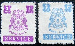 BHOPAL 1944 3p,1a Arms SERVICE MLH SGO350,O352 CV£12