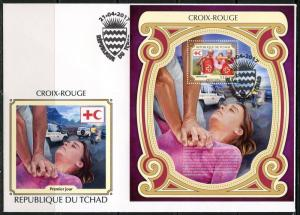 CHAD  2017  RED CROSS  SOUVENIR SHEET FIRST DAY COVER