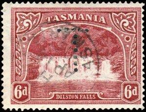 AUSTRALIA / TASMANIA - 1903 SG236 6d lake with Official Perfin T - VFU