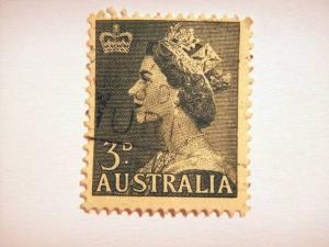 AUSTRALIA, 1953, 3d, used, Queen Elizabeth, SG 262 value £ 0.10