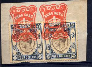 Hong Kong 1912-21 $4 revenues pair used with seal dated 9 12 21
