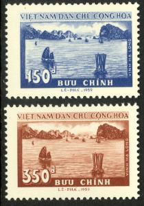 NORTH VIETNAM 1959 HA LONG BAY Set Scott Nos. 89-90 Mint NGAI