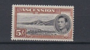 ASCENSION  1938  S G 46  5/- BLACK  &  YELLOW BROWN  PERF 131/2 MNH
