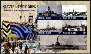 HERRICKSTAMP NEW ISSUES MARSHALL ISLAND World War I Razzle Dazzle Ships