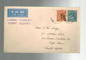 1931 England First Flight Cover FFC  Capetown South Africa via Imperial Airways
