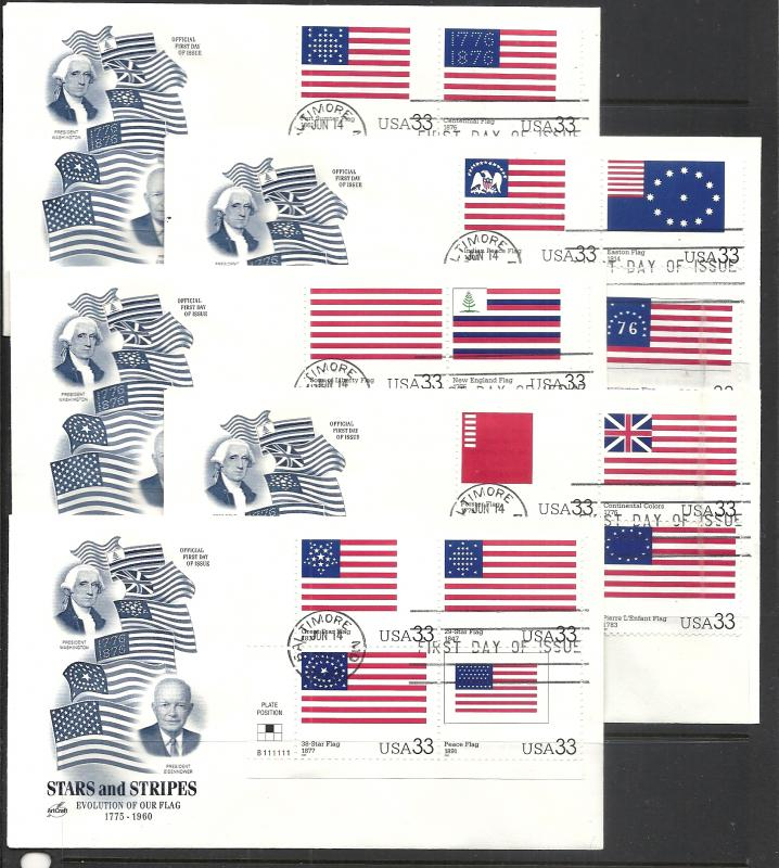 US #3403a-t Stars & Stripes Artcraft cachet unaddressed fdc Five Covers