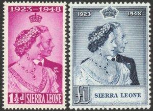 SIERRA LEONE-1948 Royal Silver Wedding Set Sg 203-204 UNMOUNTED MINT V42860