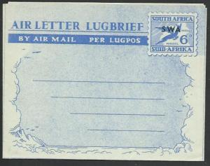 SOUTH WEST AFRICA. Sth Africa 6d airletter optd SWA, fine unused..........58364a