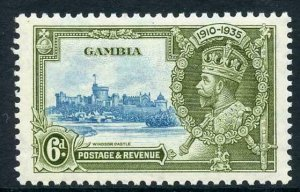 Gambia 1935 Silver Jubilee SG145b 6d Short Extra Flagstaff M/M