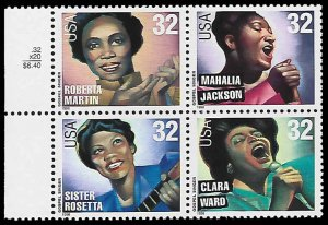 PCBstamps     US #3216/3219a Block $1.28(4x32c)Gospel Singers, MNH, (6)