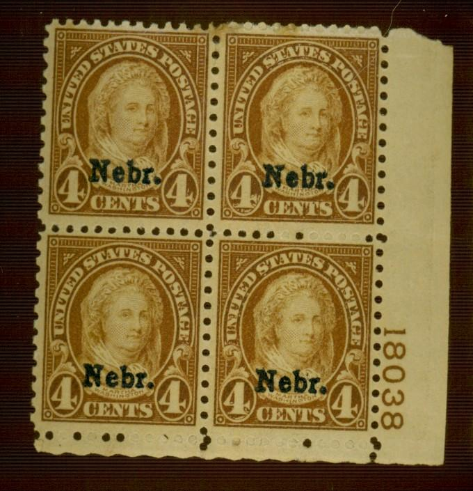 673 MINT Plate Block F-VF OG LH Gum dist minor staining Cat$275