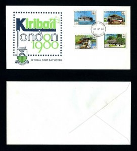 Kirbati # 352-5 on FDC Cacheted and Unaddressed for London 1980
