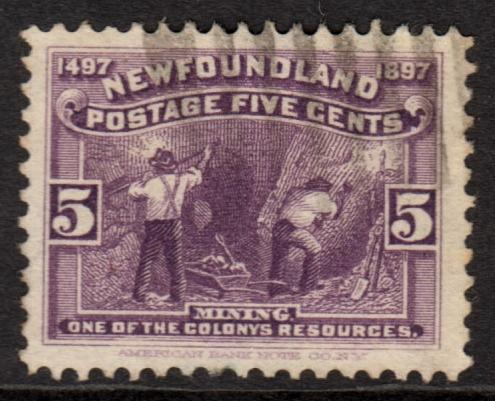 Newfoundland QV 1897 5c Violet SG70 Good Used