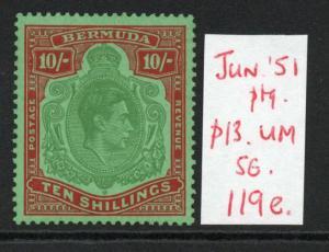 BERMUDA GEORGE VI SG119e 1951 June Ptg. MNH condition.