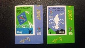 O) 2007 AZERBAIJAN, PROOF, EUROPA UNION, SCOUTING, SCOUT - KITE, DOVE  - TENTS -