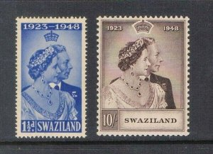 Swaziland 1948 Sc 48-9 Silver Weeding set of 2 MNH