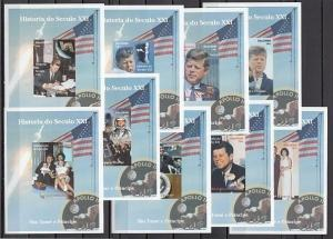 St. Thomas, 2004 issue. President John Kennedy on 9 Deluxe s/sheets.